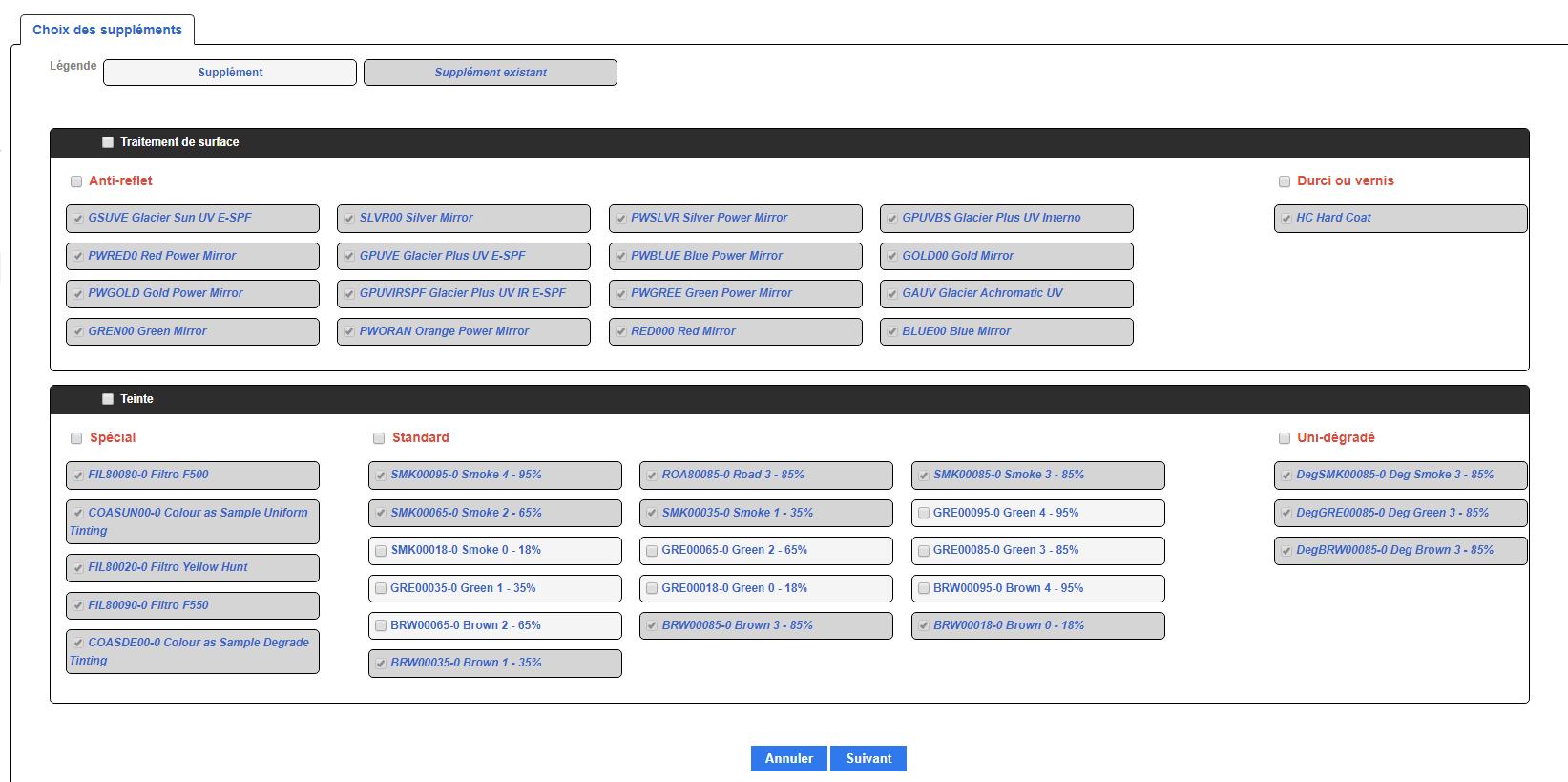Exemple de choix d'options dans iWiCatalog, notre catalogue optique international